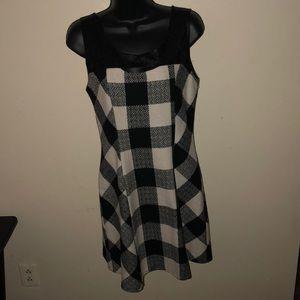 MONTEAU  Plaid Black/White Faux Leather Dress